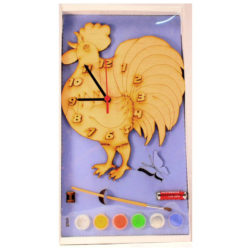 Часы с циферблатом под роспись петух